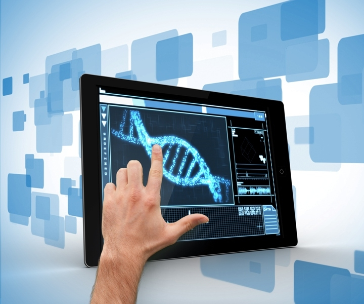 man-touching-tablet-pc-dna-interface